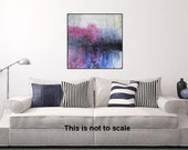 Square Landscape Painting, Original Abstract Art, Modern Textured Landscape,Abstract Landscape, Home Decor, Painting Blue Pink by JDArtiste