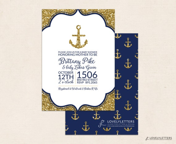 nautical anchor baby shower invitation with glitter nautical baby