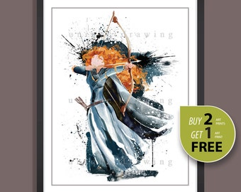 Disney princess Merida print, Disney Brave Merida poster, Merida print, Merida poster, Disney movie poster, Kids Decor, Nursery Decor, 3549