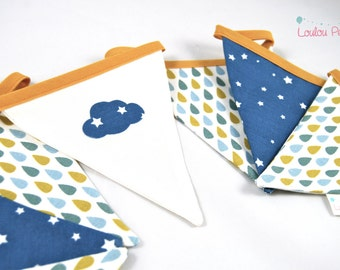 Garland small pennants drops and cloud - blue and yellow mustard