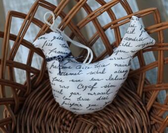 Fabric hanging bird ornament/ Gray scripture fabric/ Home decor