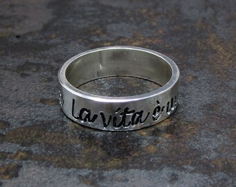 Engraved Sterling Silver Ring - 5 mm