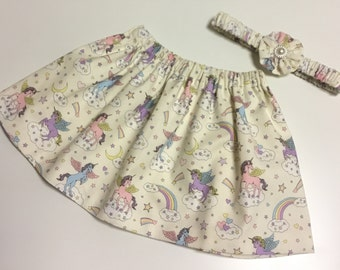Pretty Girls Skirt 100% Cotton Unicorn Rainbow Pattern fully lined with matching Hairband approx 1 yrs