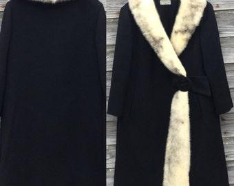 Women's Vintage Wool Coat with Fox Fur Accents