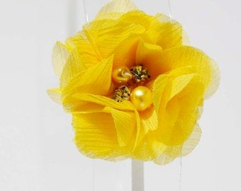 Yellow chiffon, pearl & rhinestone flower. Headband for girls, photography prop, gifts for her, gifts under 5.00, newborn baby girl gift