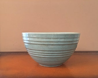 VINTAGE RIBBED MCCOY Mixing Bowl Mid Century Robins Egg Pottery