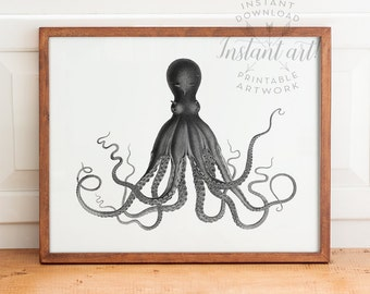 Black & white vintage octopus print PRINTABLE art, SELECT your OWN colors,nautical print,nautical wall art,octopus poster,antique octopus