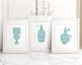 Bathroom art set of 3 PRINTABLES: flush the toilet,wash your hands,brush your teeth seafoam blue bathroom decor,printable decor,bathroom art