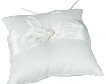 Pearl Satin Wedding Ring Pillow