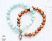 SALE 30% was 36.95 Duet of two bracelets 1. Natural boho chic sandalwood bracelet and buddha head 2. Amazonite beads, yoga , gypsy chic