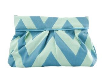 Chevron Pleated Clutch - Water (Light Blue)/Mint, Clutch Bag, Handbag, Canvas Clutch Bag
