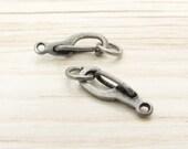 6pcs Self Closing Hook, Antique Silver Clasp, 11x5, Oxidized Silver Clasp, Hinged Clip, Bracelet Clasps, Necklace Clasps, Bracelet Closures