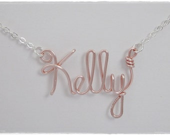 Kelly Wire Name Pendant Necklace, SALE!