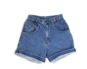 SALE 90s Blue Denim High Waisted Jean Shorts