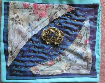 Textile Collage Handmade Textile Embellishment for adding to your creation