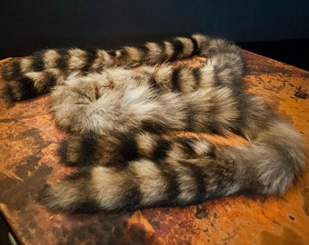 Genuine Racoon Tail Scarf or Neck Warmer