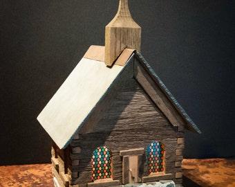 Handmade Vintage Log Church Nightlight with Slate Roof