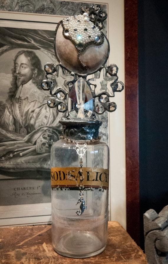 Handmade Glass Cross Bottle with Embellished Seashell Detailing