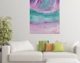Abstract painting, original painting, acrylic painting, purple and aqua, 60x90cm stretched canvas