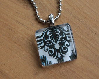 Damask Square Glass Tile Pendant