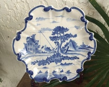 1800's Old Delft Plate Delfts Blauw Pastoral Fishing Schotel Scallop Dish Schaal Wall Plaque Art Hand Painted Boch Frères Keramis *Free S&H