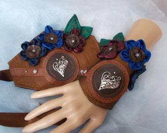 Cuff Bracelets, Fabric Cuffs, Pair, Steampunk Cuffs, Victorian Cuffs, Autumn Wedding Cuffs, Beaded