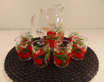Vintage Pitcher and Glasses - Juice Pitcher and Juice Glasses - Retro Glass  Set - Tomatoes - Bartlett- Collins  - Drinking Set