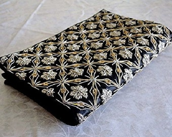 Black Satin Evening Clutch Bag Purse with Intricate Applied Gold & Silver Metal