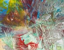 Encaustic 23, original, handmade wax painting, abstract on card