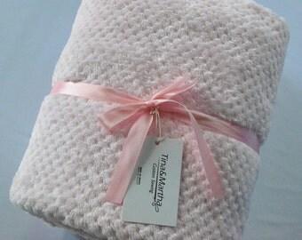 Cloud Baby Blanket Pink, Minky Blanket, Baby Blanket.