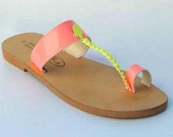 Greek Leather ( NEON ) Sandals (38, 39 - Bicolor)