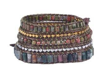 Leather Wrap bracelet India Agate bead bracelet women boho bead wrap bracelet leather bracelet gemstone bracelet natural stone Jewelry