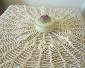 Vintage Hand Crochet Large Table Topper / Doiley - Soft Sage Green