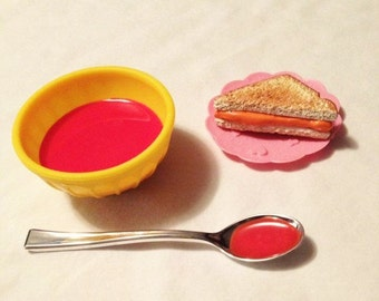 Tomato Soup for american girls. accessories.  Re-usable bowl, soup, spoon and Grilled Cheese!