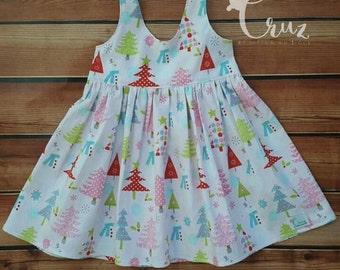 Holiday dress, Christmas Scoop back dress