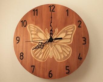 Pine butterfly clock Wooden wall clock Wood clock Wall clock Home clock Nature clock Wildlife clock Garden clock Animal clock Decorative
