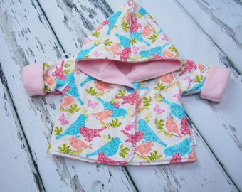 Reversible Baby Girl Jacket - Baby Jacket - Girls Clothing - Baby Clothes - Summer Coat - Girls Coat - Fleece Hoodie - Girls Hoodie