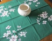 Vintage Linen~WILENDUR Tablecloth~DOGWOOD on Green~Small Tea Breakfast Cloth Size~EUC~1950's Floral~Retro Linens~Cottage Romantic Chic