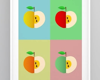 Kitchen Retro Print, Kitchen Pop Art Poster, Scandinavian Print, Kitchen Decor, Apple Print, Mid Century Modern, Kitchen Wall Art (R009)