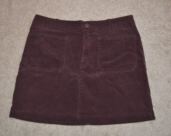Purple Corduroy Mini Skirt