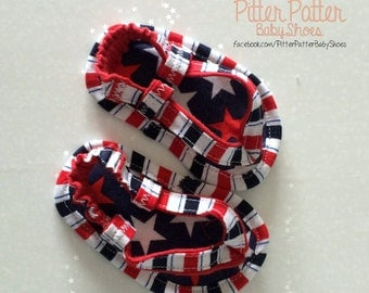 4th of July Baby Sandals - Stars and Stripes Baby Shoes - July 4th - Patriotic Baby Shoes - Baby Gift - Handmade Baby Shoes - America