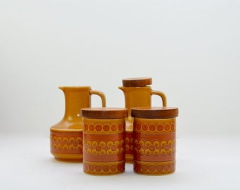 Hornsea Saffron condiment set: salt and pepper shakers, oil and vinegar jars, Made in England, 1970s