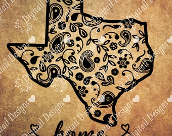 Texas Paisley svg - png - dxf - ai - fcm Cut File for Silhouette, Cricut Explore and more. Texas SVG Texas Home Home SVG Paisley Texas