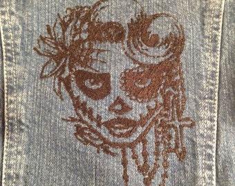 Decorative sugar skull machine embroidery design for 4x4 & 5x7 versions