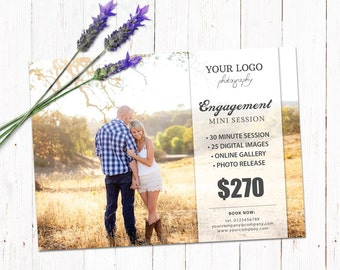 Engagement session template. Mini session photography board. Marketing & advertising template. Fully editable Photoshop PSD files. MSE001