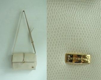 faux leather bag, ivory bag, croc reptile pattern fake leather shoulder bag, cross body bag, 80s purse, 1980s liz claiborne