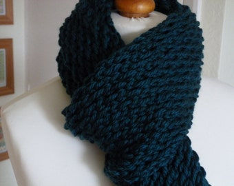 Chunky hand knitted dark teal fringed scarf