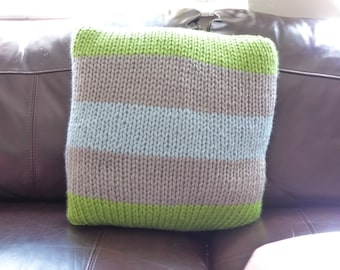 Gorgeous chunky silver grey, lime green and pale blue hand knitted cushion