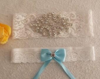 Ivory stretch lace garter set,  Ivory satin, Crystal Rhinestone Applique, Wedding garter, Bridal garter, Prom garter, Custom garter set