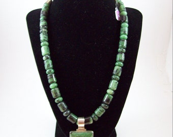 """Statement Necklace Ruby & Zoisite Stone and Sterling Silver 925 22"""" Intricately Made Large Pendant"""